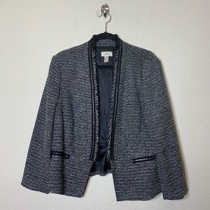 LOFT Gray Tweed Blazer Peplum Jacket
